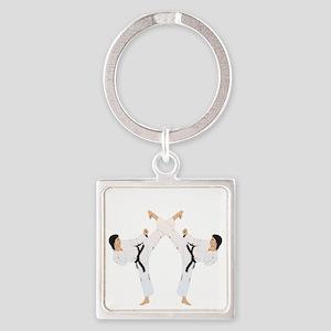 taekwondo b(blk) Square Keychain