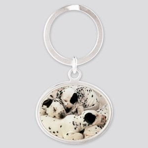Dalmation sm fr pan print Oval Keychain