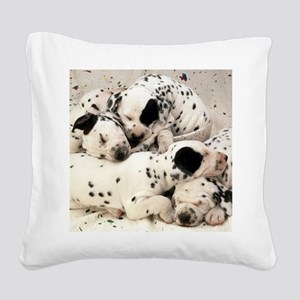 Dalmation sm fr pan print Square Canvas Pillow
