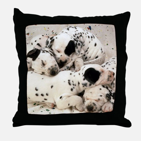 Dalmation sm fr pan print Throw Pillow