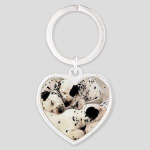 Dalmation sm fr pan print Heart Keychain