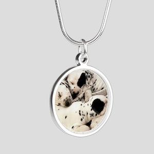 Dalmation sm fr pan print Silver Round Necklace