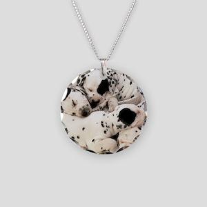 Dalmation sm fr pan print Necklace Circle Charm
