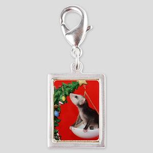 Christmas Tree Opossum Silver Portrait Charm
