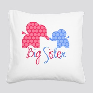 ElephantBigSisterGirlBoy Square Canvas Pillow