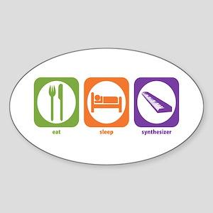 Eat Sleep Synthesizer Oval Sticker