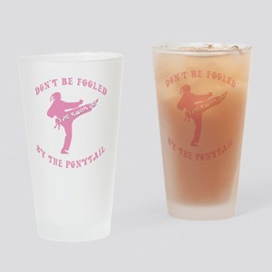 old tae kwon do pink(blk) Drinking Glass
