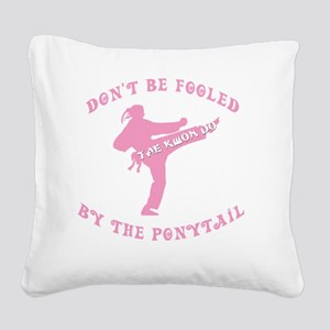 old tae kwon do pink(blk) Square Canvas Pillow