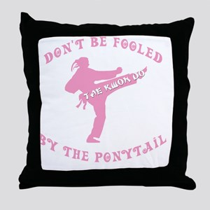 old tae kwon do pink(blk) Throw Pillow