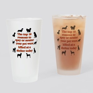 10 reasons to spay_white Drinking Glass