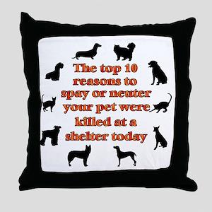 10 reasons to spay_white Throw Pillow