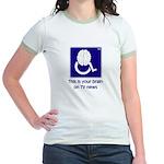 Brain on TV News Jr. Ringer T-Shirt