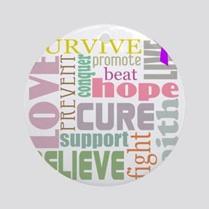 alzheimers-wordcollage-light Round Ornament