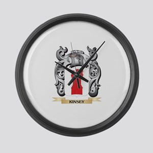 Kinsey Coat of Arms - Family Cres Large Wall Clock