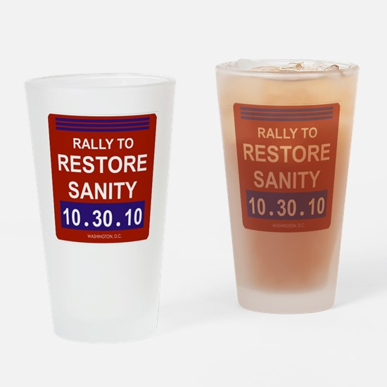 rallytorestoresanity2black Drinking Glass