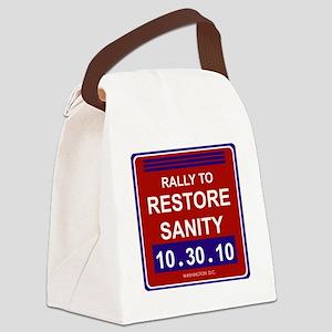 rallytorestoresanityblack Canvas Lunch Bag