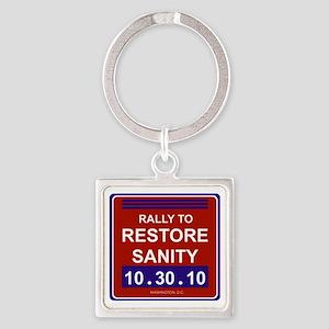 rallytorestoresanityblack Square Keychain