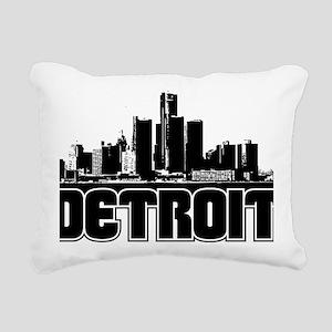 Detroit Skyline Rectangular Canvas Pillow
