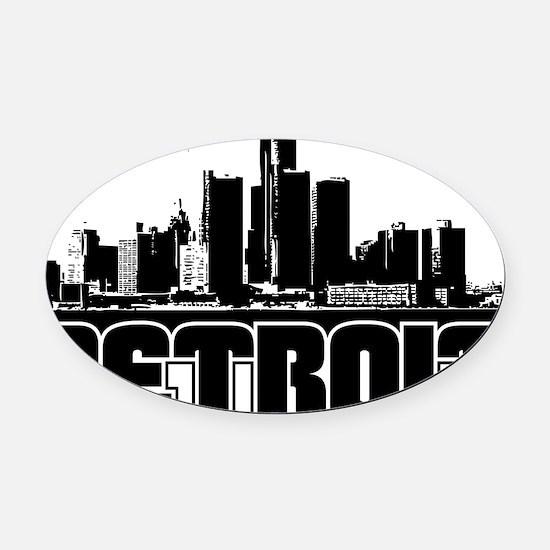Detroit Skyline Oval Car Magnet