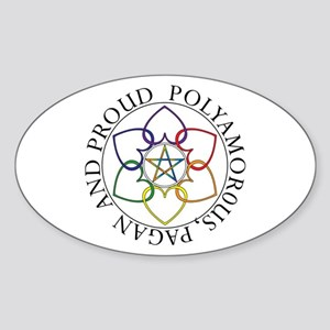 Pagan Poly and Proud circle Oval Sticker