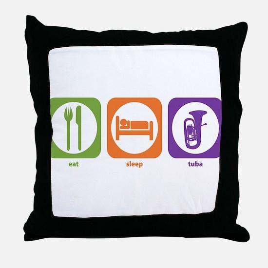 Eat Sleep Tuba Throw Pillow