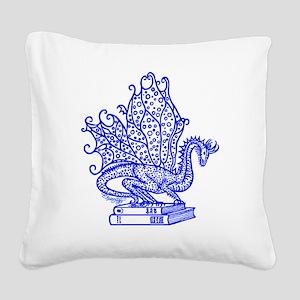 dragon-bks_blue Square Canvas Pillow