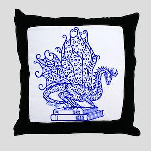 dragon-bks_blue Throw Pillow