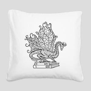 dragon-bks_black Square Canvas Pillow