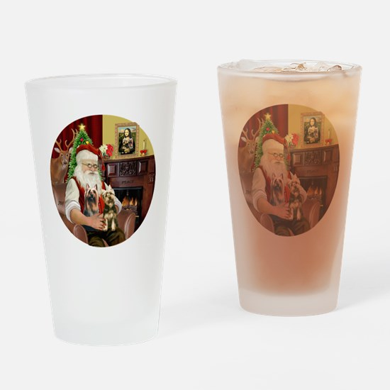 (R) Santa - Silky Terriers (TWO) Drinking Glass