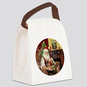 (R) Santa - Silky Terriers (TWO) Canvas Lunch Bag