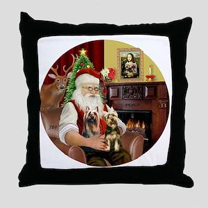 (R) Santa - Silky Terriers (TWO) Throw Pillow