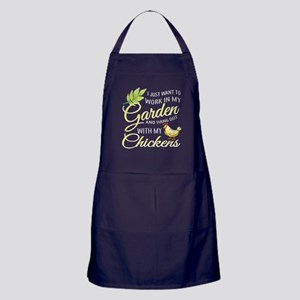 Hang Out With Chickens In My Garden T Apron (dark)