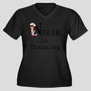 Nurse In Tra Women's Plus Size Dark V-Neck T-Shirt