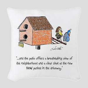 Flipping The Birdhouse Woven Throw Pillow