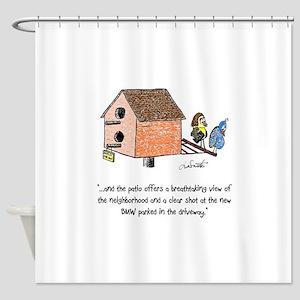Flipping The Birdhouse Shower Curtain