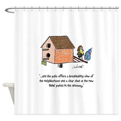 Flipping The Birdhouse Shower Curtain By Waternolemon