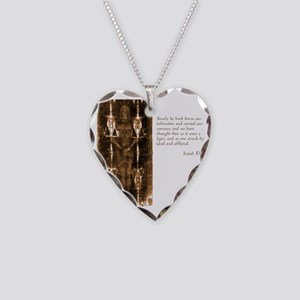 Isaiah 53-4 Necklace Heart Charm