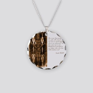 Isaiah 50-8-9 Necklace Circle Charm