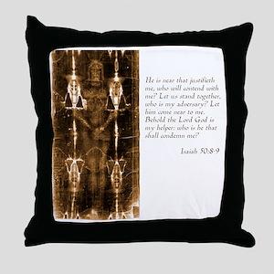 Isaiah 50-8-9 Throw Pillow