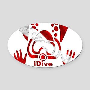 Idive 2010 dive flag 4 lite Oval Car Magnet