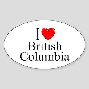 """I Love British Columbia"" Oval Sticker"