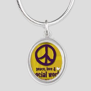 3-PeaceLogo Silver Oval Necklace