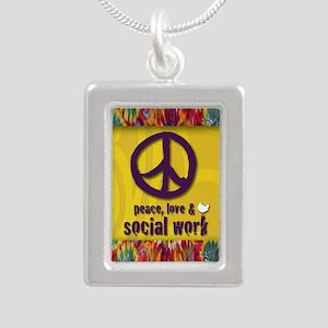 3-PeaceLogo Silver Portrait Necklace