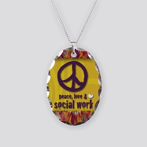 3-PeaceLogo Necklace Oval Charm
