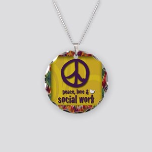 3-PeaceLogo Necklace Circle Charm