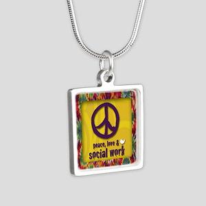 3-PeaceLogo Silver Square Necklace