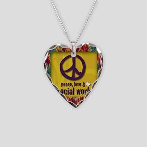 3-PeaceLogo Necklace Heart Charm