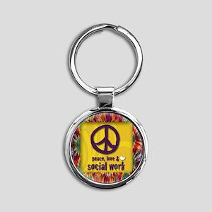 3-PeaceLogo Round Keychain