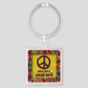 3-PeaceLogo Square Keychain