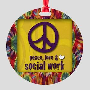 3-PeaceLogo Round Ornament